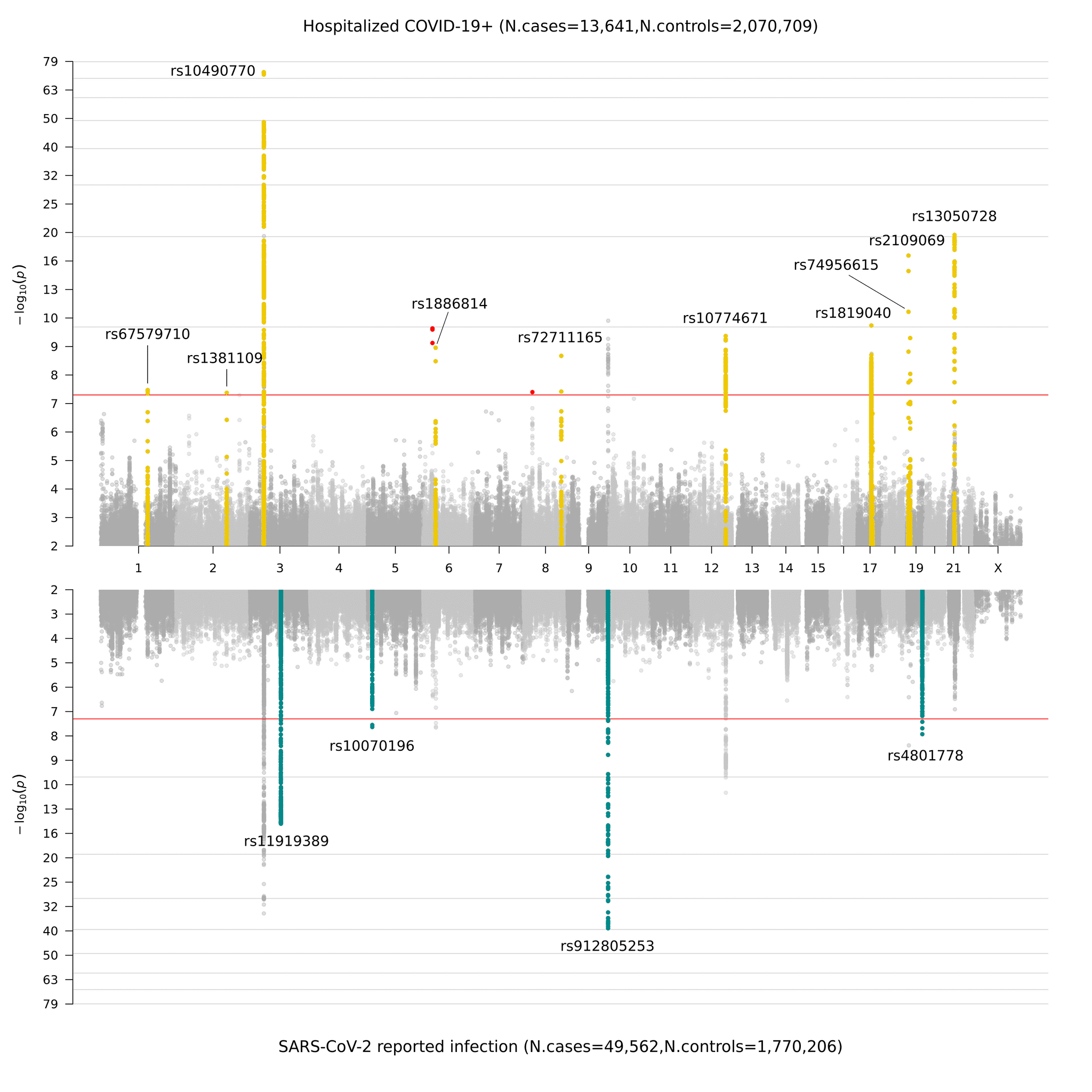 Figure 3. Miami plot of genome-wide association results for COVID-19.