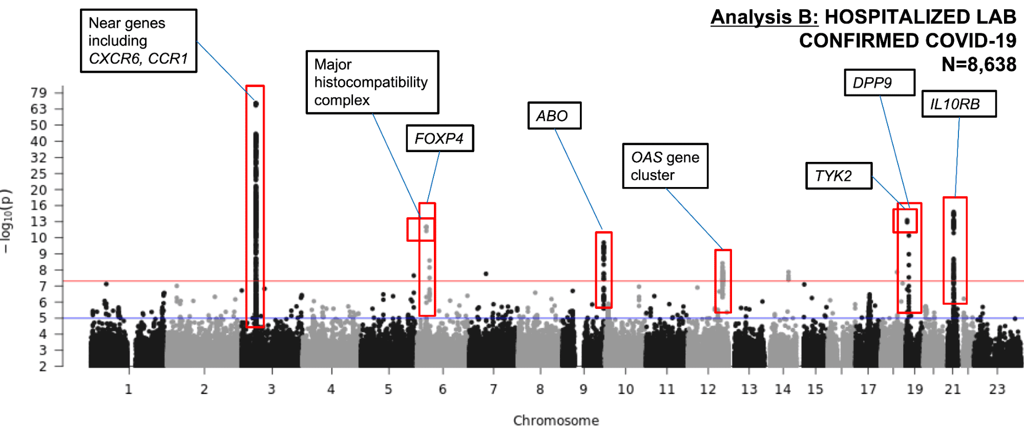 A Manhattan plot showing the GWAS results for COVID-19 Severity in 8,638 hospitalized COVID-19 cases and 1.7 million controls